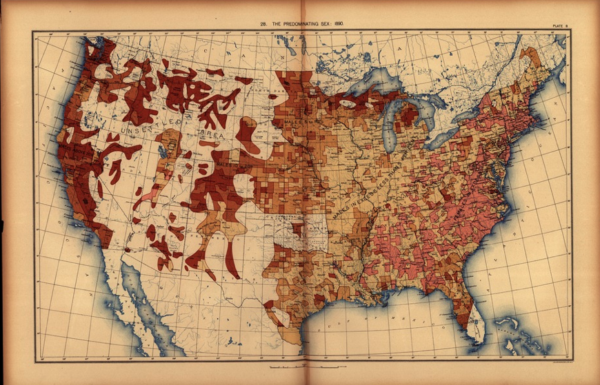 Gender ratio across the USA, 1890